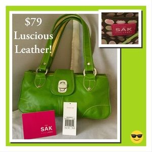 NWT! $79 Gorgeous Apple Green Soft Leather SAK